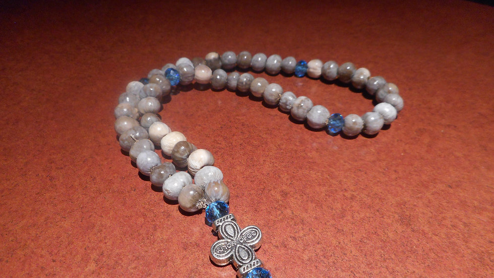 Panagia Tears prayer rope 50 knots blue beads