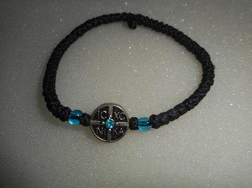Athos Komboskini bracelet black with NiKA medallion and turquo beads