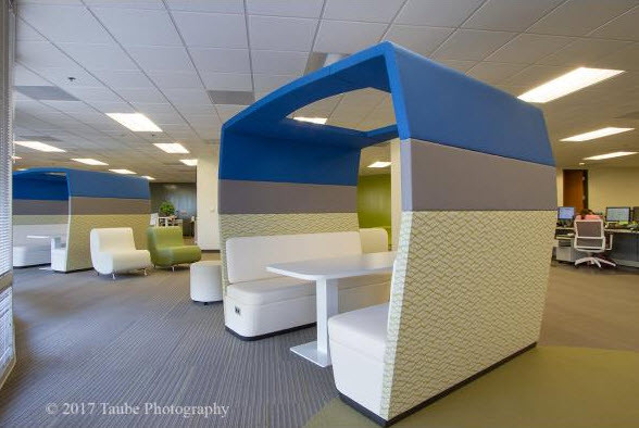 CMS OFFICES - ISLANDS, POUFS, AND SLING BACK CHAIRS