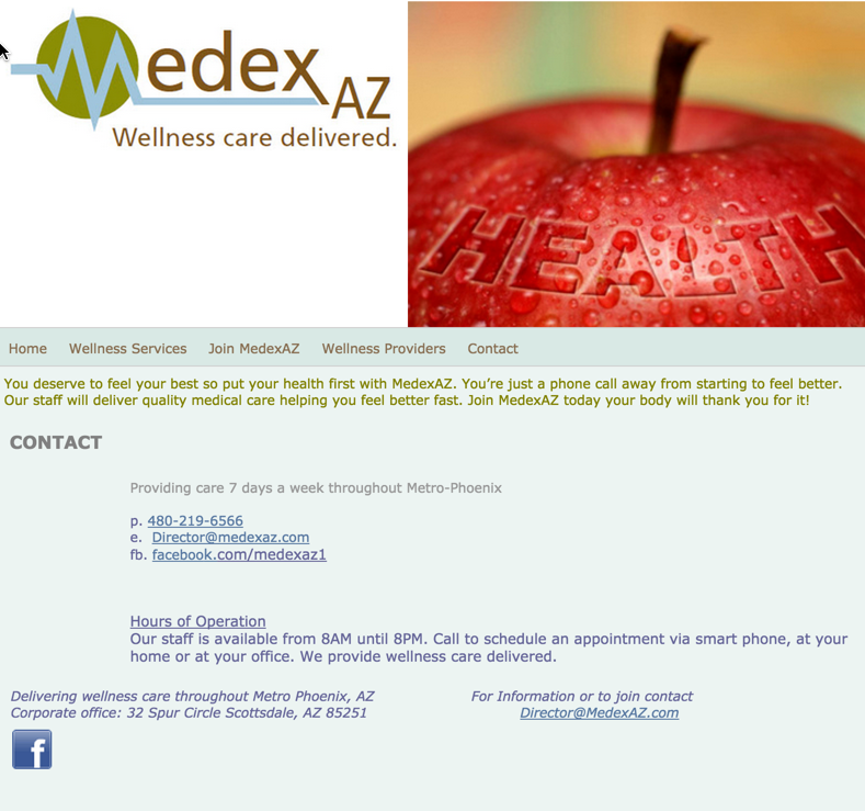 MedexAZ Contact page