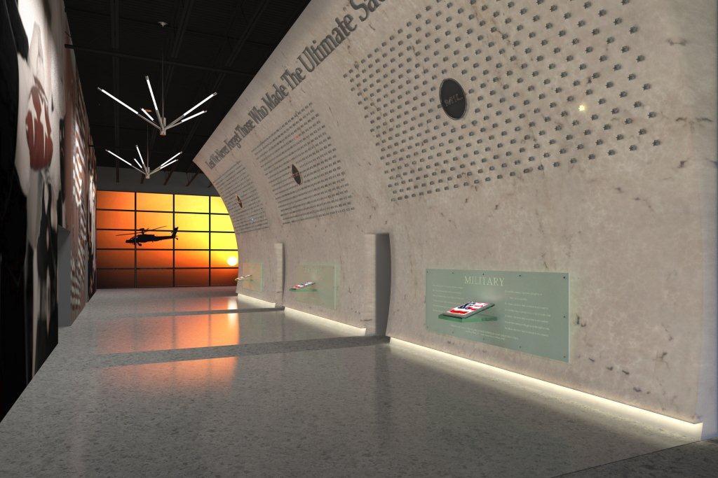 3D Rendering Marble Memorial Wall