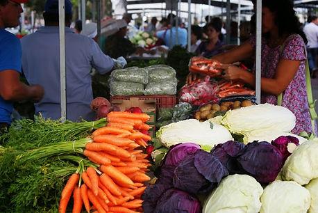 Stand de feira com legumes de agricultura familiar