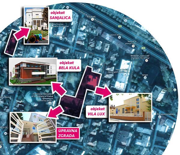 mapa kampusa PU Baby Palace Andjela