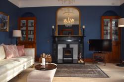 Blue Lounge with Wood Burner