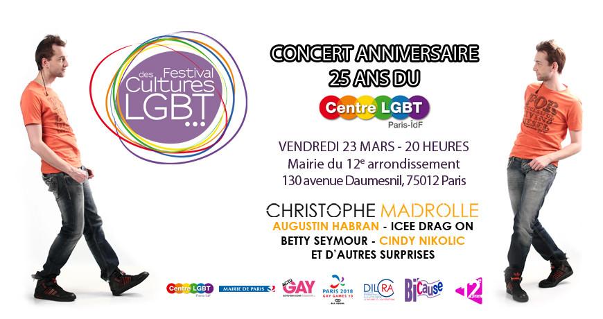 Christophe Madrolle pour les 25 ans du Centre LGBT Paris-ÎdF.