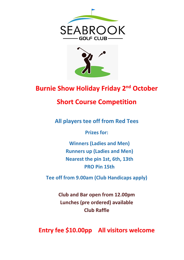 Short Course Comp- Friday 2nd October 20