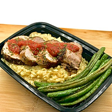 Roasted Pork Tenderloin with Cheesy Brown Rice Risotto