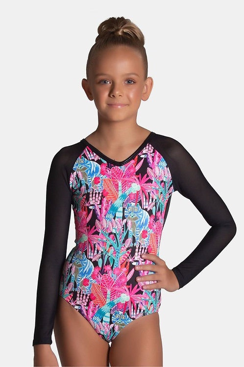 Sylvia P Mash up Long Sleeve Leotard