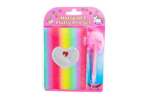 Mad Ally Fluffy Notebook with Pen - Heart