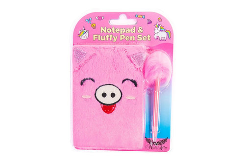 Mad Ally Fluffy Notebook with Pen - Pig
