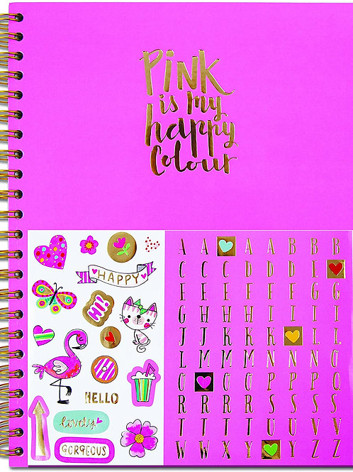 Rachel Ellen Lined Notebook with Stickers - Pink