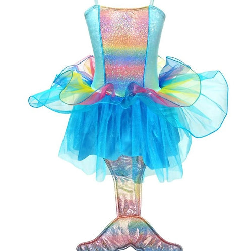 Pink Poppy Mermaid Princess Dress (Blue)