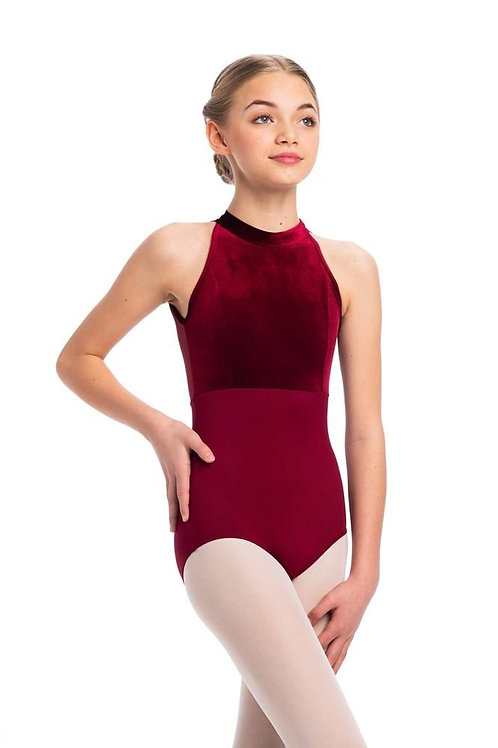 AinslieWear Vera Leotard with Mesh and Velvet (Ruby) - Girls