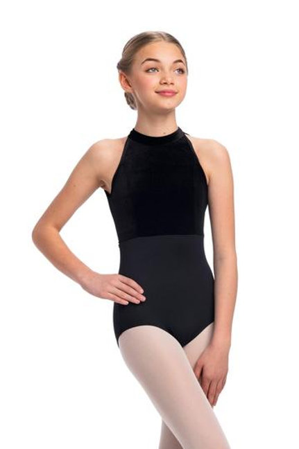 AinslieWear Vera Leotard with Mesh and Velvet (Black) - Girls