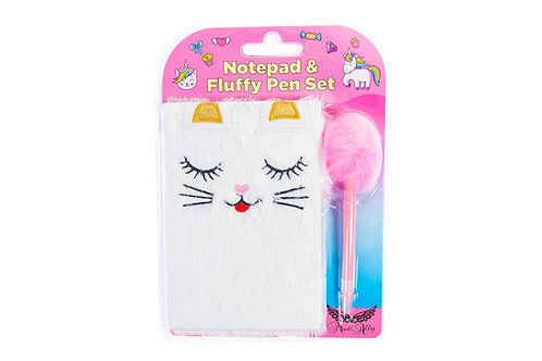 Mad Ally Fluffy Notebook with Pen - Cat