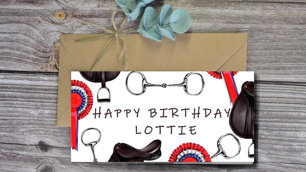 Personalised Horse Birthday Card, Equine Art