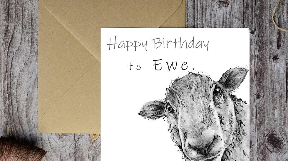 Personalised Sheep Birthday Card, Funny Sheep 'Happy Birthday to Ewe'