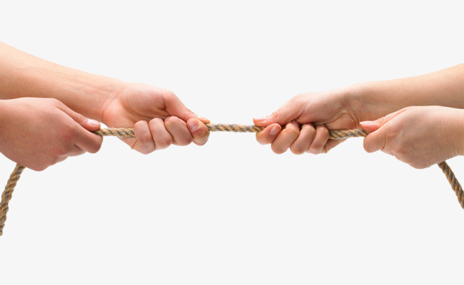 Two sets hands pulling on opposite ends of rope