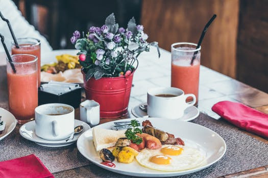 Breakfast meal and drinks on a restaurant table