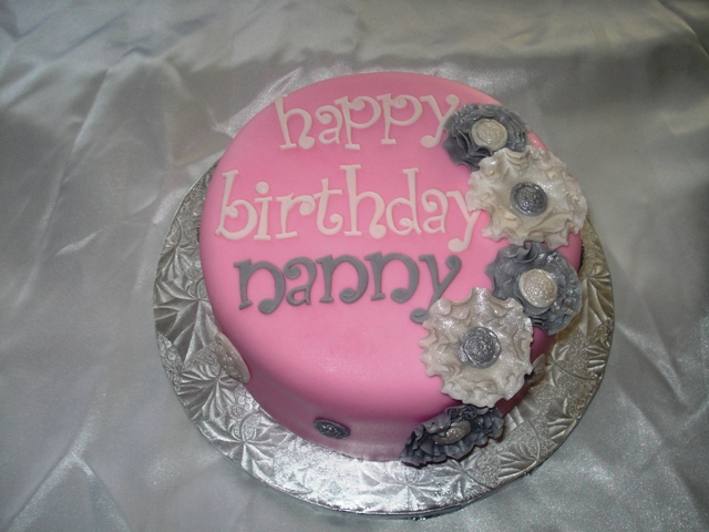 Pink Ruffle Floral Cake