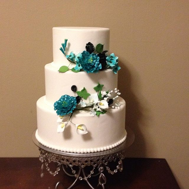 Teal, Black & White Cake