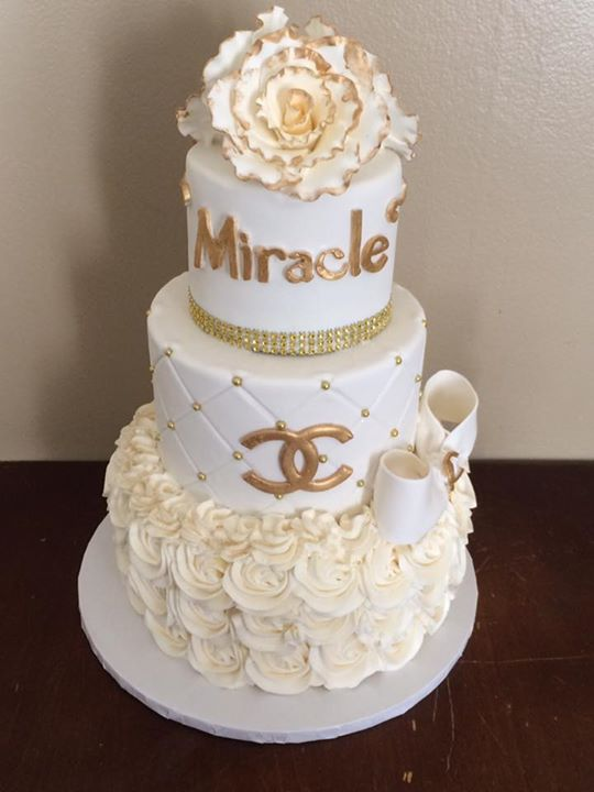 White & Gold Chanel Baby Shower Cake