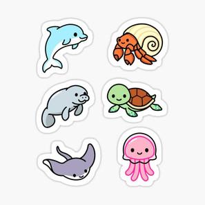 Beach Animal Sticker Pack