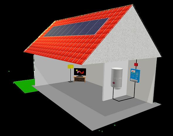 Ohřev vody, Fotovoltaická elektrárna, Solars-pictre