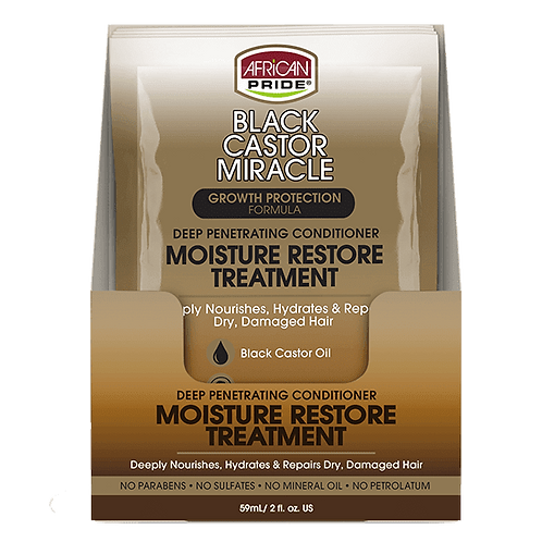 African Pride Black Castor Miracle Moisture Restore Treatment Packet