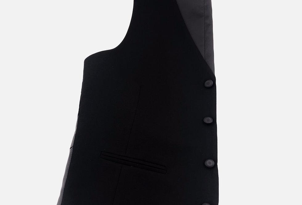 Black Wool 4 Button Vest
