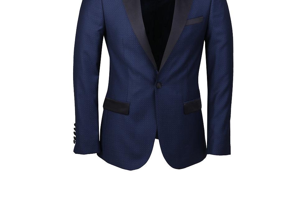 Göreme Navy Pattern Peak Lapel Tuxedo