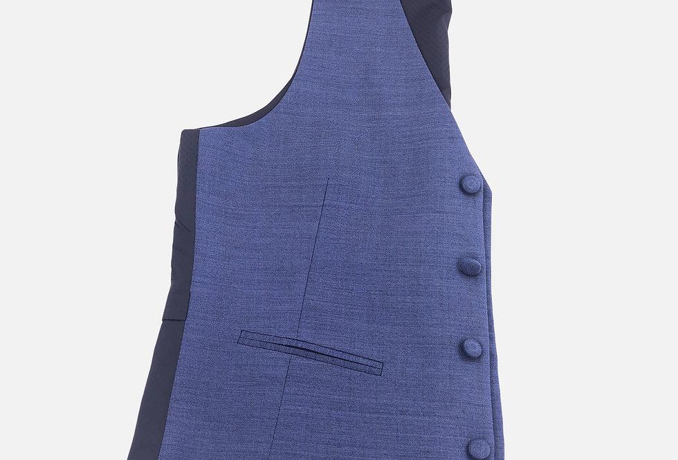 Dusk Blue Wool 4 Button Vest