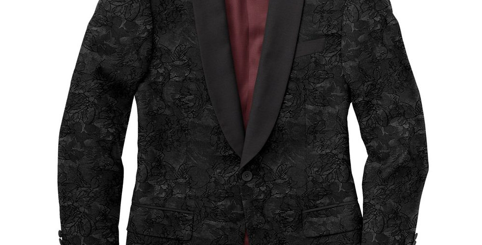 Debonair Black Floral Jacquard Tuxedo