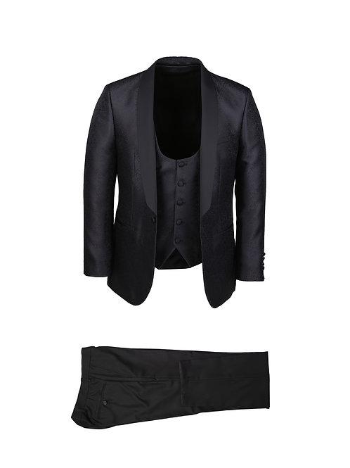 Daylan Black Floral Shawl Tuxedo