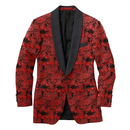 Debonair Red & Black Floral Tux Jacket
