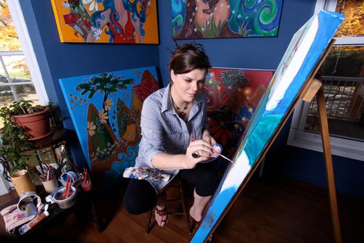 Mélissa Tardif à ses pinceaux