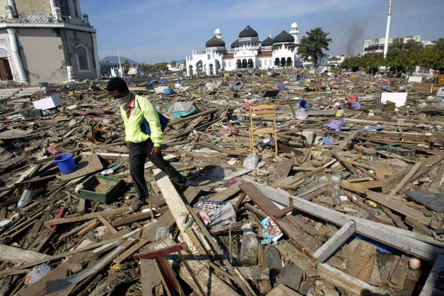 Mosques still standing after the devastating 2004 Tsunami in Indonesia
