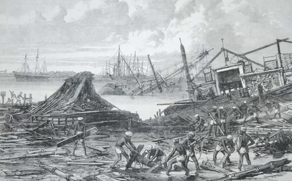 Artwork illustrating the 1839 India cyclone / 1881 Haiphong typhoon