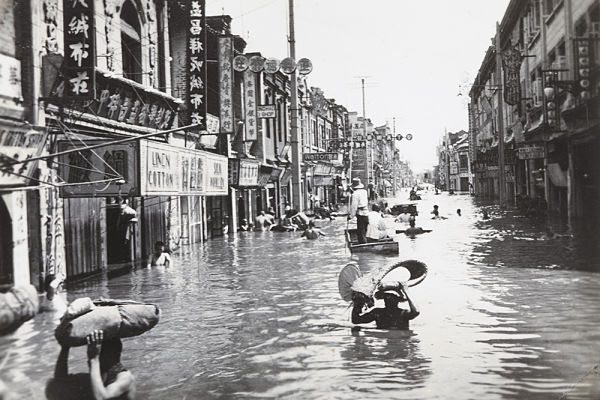 Floods through the main streets of China 1931