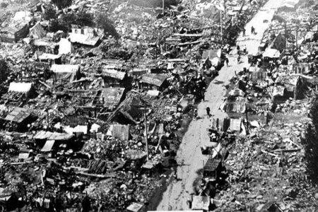 Aftermath of the 1970 Bhola cyclone from above