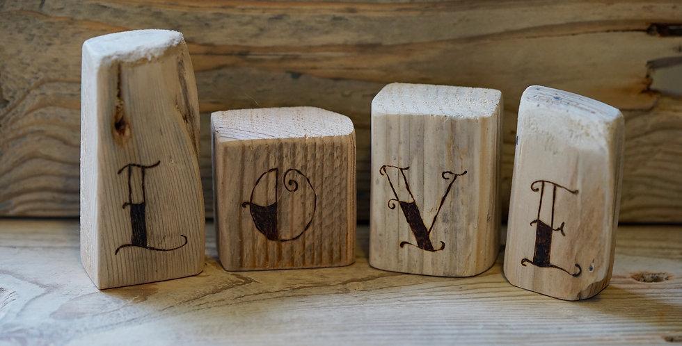 Cornish Driftwood Love Blocks
