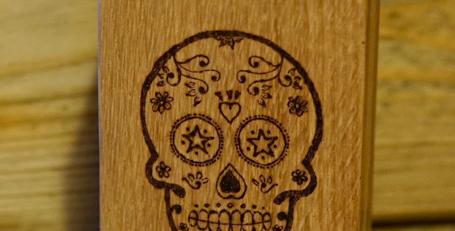 Sugar Skull Oak Block Candle Holder