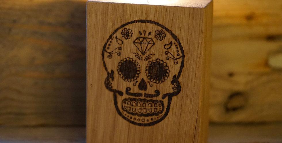 Cornish Oak Skull Candle Holder