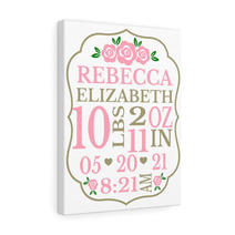 Baby Birth Announcement Canvas - Roses