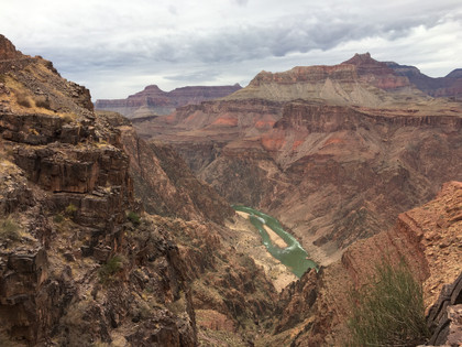 Looking down on the Colorado dissecting the Grand Canyon