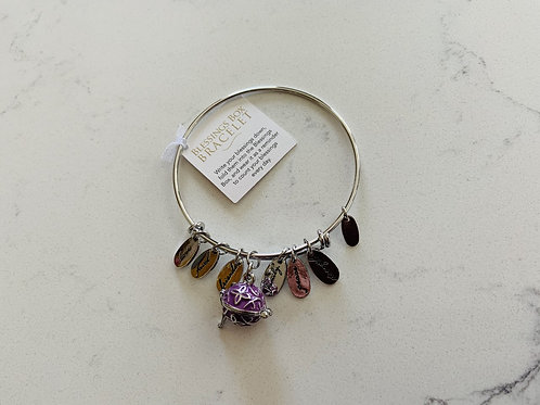 Silver Blessings Box Bangle with Purple Box