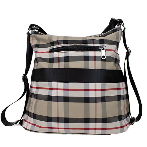 Travel Crossbody Beige Plaid Handbag