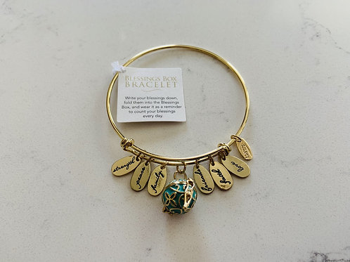 Gold Blessings Box Bangle with Green Box