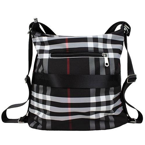 Travel Crossbody Black Plaid Handbag