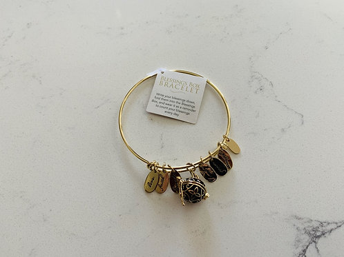 Gold Blessings Box Bangle with Black Box